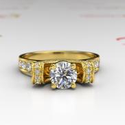 1ct Certified Diamond Gold Engagement Ring - 02TT46