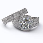 2.08ct Diamond Gold Halo Bridal Set - 06GG62