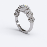 0.65ct ROUND CUT PAVE Infinity Gold ENGAGEMENT RING - 06GG81