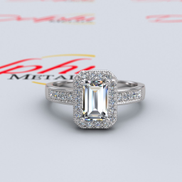 1.53ct Baguette Cut Halo Gold Engagement Ring - 16GG96