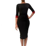 Virtue Clothier Reese 3 4 Sleeves Midi Dress - Black