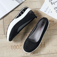 Flangesio EUR Size 35-42 Women Shoes Height Increasing Women's Platform Swing Wedges Shoes Outdoor Casual Walking Trainers Black