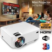 3000 Lumens 1080P LED HD 3D Projector Android WiFi Home Theatre HDMI USB VGA US Plug Black