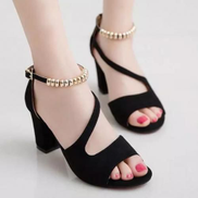 Classic Low Wedge Buckle Sandals Women Shoes-Black