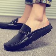 Large Size Shoes Half Drag Leather Shoes Peas Shoes Fashion Tide Shoes Men's Shoes Set Foot 45,46,47