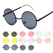 Unique Round Sunglasses Women Men Vintage Glasses Mirrored Lenses Sun Glasses - Color 7