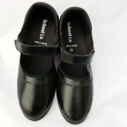 Girls Flat Leather School Shoe- Black