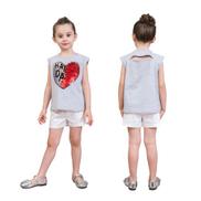 Girls T Shirts Cute Heart-Shaped Sequins Cotton Summer