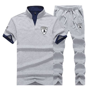 2-in-1 Two-piece Suit Men's T-shirt Trousers -Grey