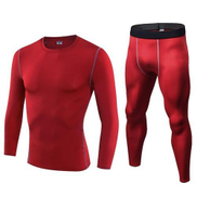 2PCS SET Men Sports Athletic Body Shaper Compression T Shirts Long Sleeve Running Fitness Gym Workout Tops -RED