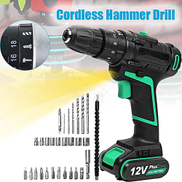 12V Cordless Hammer Drill 2 Speed Screwdriver Tool Set + 1.5Ah Li-ion Battery UK Plug