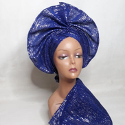 Auto Gele And Ipele In Royal Blue Asooke With Silver Glitters