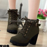 Womens Ladies Winter High Heel Ankle Martin Boots Zipper Buckle Platform Shoes