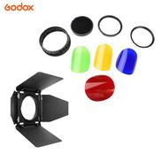 Godox BD08 Barn Door & Honeycomb Grid & 4 Color Gel Filters