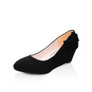 Round Toe Flock Wedges Pumps Fashion Butterfly-Knot Med Heels Shallow Casual Shoes For Lady -Black