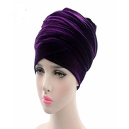 Ladies Velvet Turban - Purple