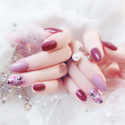 24 Nails Full Cover False Press On Nails W Sticker For Women