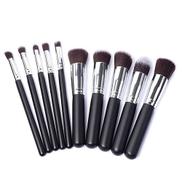 10 Piece Professional Makeup Brush Set - Black And Silver