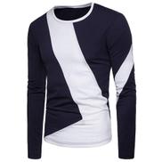 Trendy Long Sleeve T-Shirt - Blue & White