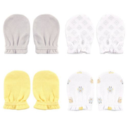Luvable Friends 4-pack Scratch Mittens-Yellow & Grey