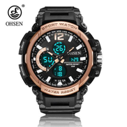 Ohsen NEW OHSEN Fashion Digital Sport Watch Men's Waterproof Quartz Wristwatch Alarm Dual Time LED Military Watch Men Sn-Pink