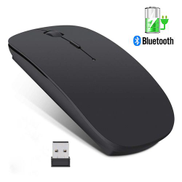 Wireless Mouse Computer Bluetooth Mouse Silent PC Mause Rechargeable Ergonomic Mouse 2.4Ghz USB Optical Mice For Laptop PC-Black