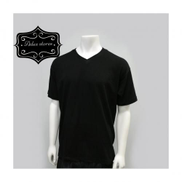 Plain V-Neck Black Shirt