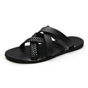 Men's Slippers Genuine Leather - Black