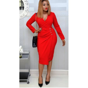 Red Long Sleeve Side Button Wrap Midi Gown