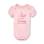 The Children's Place Baby Girls I Roll With Queen Glitter Graphic Bodysuit- Blush Pink