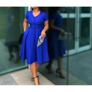 Faux Button Down Skater Dress - Blue