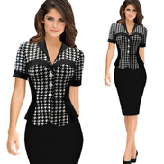 Women's Dress Office Suit Long Sleeve Dresses -Black