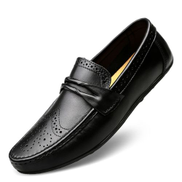 Men Casual Leather Loafers Big Size Driving Shoes Black