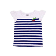 Girls Colour Block Striped Lace Flutter Sleeve Top By Crown And Ivy- White