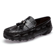 Crocodile Pattern Genuine Leather Loafers Men Tassel Shoes Casual Moccasins Black