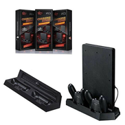 PlayStation 3 Mutilfunction Vertical Charging Station Stand + Dual Cooling Fan For PS4 Slim PS 4