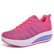 Cstxhd Women Shoes Flying Weaving Net Wedges Shoes Breathable Casual Shoes