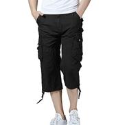 Men's Relaxed Fit Long Cargo Shorts Capri Pants-Black
