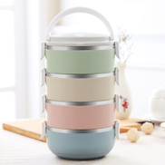 Gradient Color Lunch Box Food Bento Box Stainless Steel Container4 Layer
