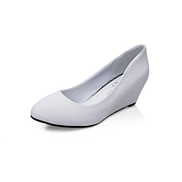 Women Wedges Pumps Shallow Round Toe Career Office Shoes -White