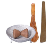 3 IN 1 LOCAL BUNDLE Spice Grinder + Meshing Vegetable Broom Ewedu Broom + Omorogun Turning stiring Stick