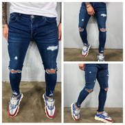Men's New Ripped Hole Stretch Straight Stretch Stretch Jeans