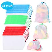 15 PCS Reusable Produce Bags 3 Sizes Washable Mesh Storage