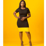 Virtue Clothier Lucia Contrast Midi Dress - Black Yellow