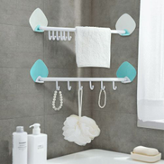 Plastic Kitchen Bathroom Storage Rack With Removable Hooks