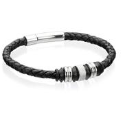 Fred Bennett B3898 Mens Stainless Steel Black Leather Disc 21cm Bracelet