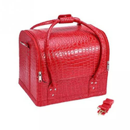 Crocodile Leather Make Up Box - Red