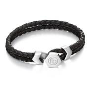 Fred Bennett B4977 Mens Double Row Black Leather Signature Bracelet